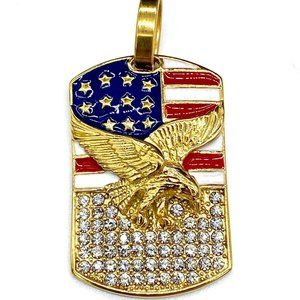 18k Gold Plated Iced American Flag/Eagle Pendant